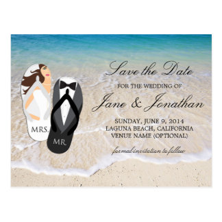 "Beach Ocean ""Mr. and Mrs."" Wedding Save the Date Postcard"