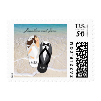 "Beach Ocean ""Mr. and Mrs."" Wedding Stamps"