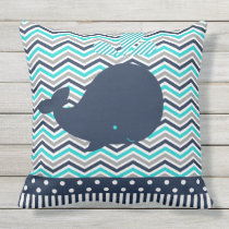 Beach Ocean Nautical Blue Whale Chevron Outdoor Outdoor Pillow