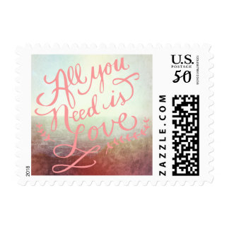 Beach Ocean Outdoor Wedding All You Need is Love Postage