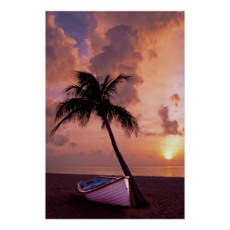 Beach, ocean, palm tree, boat and sunset print