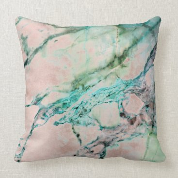 Beach Themed Beach Ocean Pink Rose Gray Mint Silver Gold Marble Throw Pillow