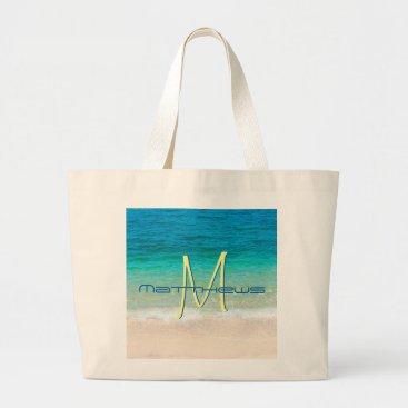 Beach Themed Beach Ocean Sand Waves Blue Monogram Name Tote