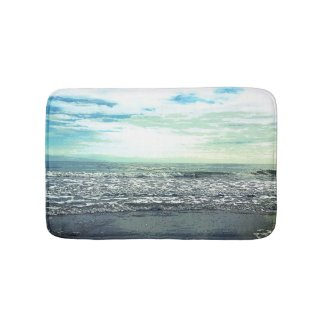 Beach Ocean Sea Abstract Blue Grey Green Fine Art Bath Mat