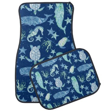 Beach Themed Beach Ocean Summer Fun Whale Sea Turtle Seahorse Car Mat