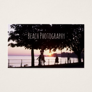 Beach Themed Beach, Ocean Sunset Pier with People Seascape Business Card