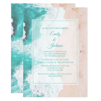 Beach Ocean Tropical Teal White Brown Wedding #1 Invitation