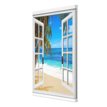 Beach Themed Beach Ocean View Faux Window Canvas Print
