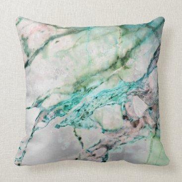 Beach Themed Beach Ocean Water Gray Mint Silver Gold Marble Throw Pillow