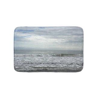 Beach Ocean Water Sky Blue White Grey Cute Coastal Bath Mat