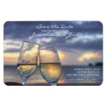 Beach Ocean Wedding Champagne Glass Save the Date Magnets