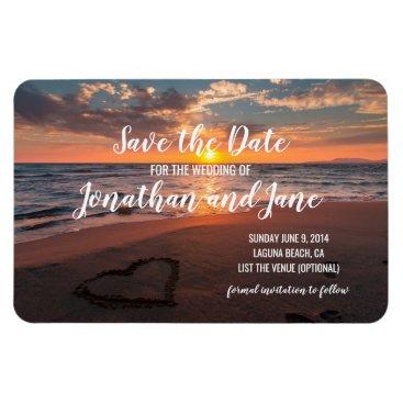 Beach Ocean Wedding Heart Deluxe Save the Date Magnet