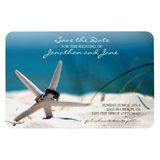 Beach Ocean Wedding Rings Starfish Save the Date Flexible Magnets