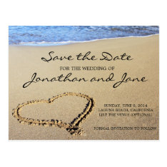 Beach Ocean Wedding Save The Date Postcard at Zazzle