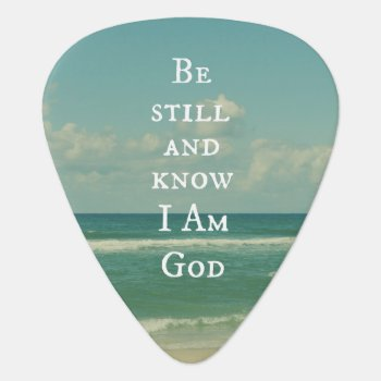 Beach Ocean With Be Still Bible Verse Guitar Pick by Christian_Quote at Zazzle