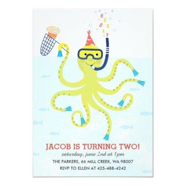 Beach Themed Beach Octopus Kid's birthday party Invitation