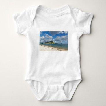 Beach Themed Beach of Flic en flac overlooking Tourelle du Tama Baby Bodysuit