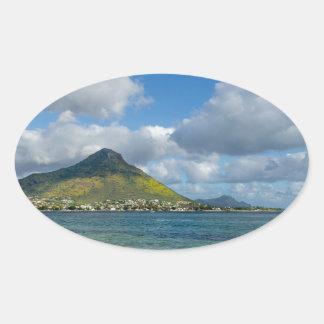 Beach of Flic en flac overlooking Tourelle du Tama Oval Sticker
