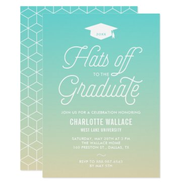 Beach Themed Beach Ombre Hats off to the Graduate Graduation Card