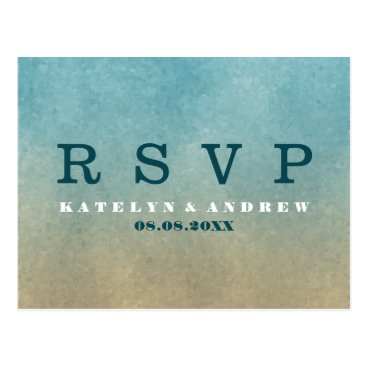 Beach Themed Beach Ombre Minimal Wedding RSVP Postcard
