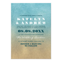 Beach Ombre Wedding Invitation
