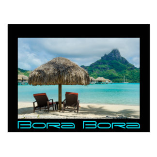 Beach on Bora Bora black border postcard