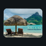 """Beach on Bora Bora rectangular text magnet<br><div class=""""desc"""">Rectangular souvenir magnet of a thatched parasol and two sunlounger chairs on a white sand beach in a luxury overwater bungalow resort in the clear blue lagoon of the pacific island of Bora Bora,  near Tahiti in French Polynesia with the text: &#39;BORA BORA,  French Polynesia&#39;. A great souvenir!</div>"""