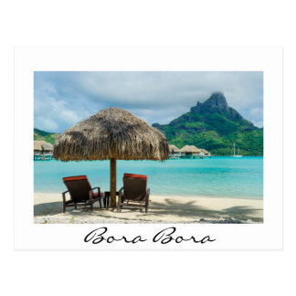 Beach on Bora Bora white postcard