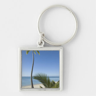 Beach on mainland Aitutaki, Cook Islands Silver-Colored Square Keychain