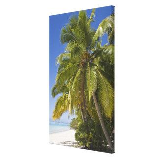 Beach on One Foot island, Aitutaki, Cook Islands Canvas Print