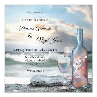 Beach or Destination Wine Theme Wedding Invitation