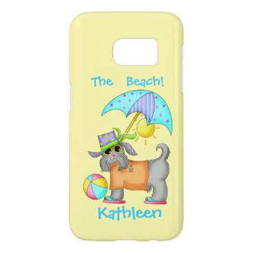 Beach Themed Beach or Pool Dog Yellow Name Personalized Samsung Galaxy S7 Case