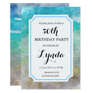 Beach or Tropical Watercolor Birthday Invitation