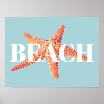 Beach Themed Beach Orange Starfish & Cyan Blue Poster