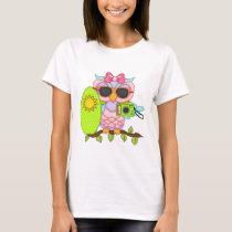Beach Owl cartoon fun t-shirt