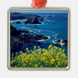 Beach Pacific Coastline Wildflowers Mendocino Metal Ornament