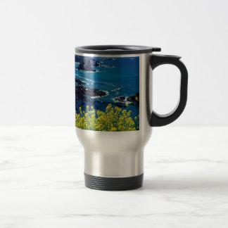 Beach Pacific Coastline Wildflowers Mendocino Travel Mug
