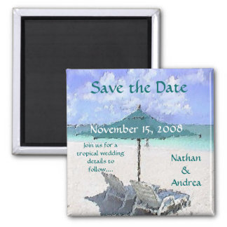 Beach Painting 2 Inch Square Magnet