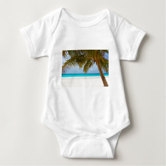 beach palm branches tree tropical island sand sea baby bodysuit
