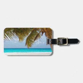 beach palm branches tree tropical island sand sea bag tag