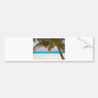 beach palm branches tree tropical island sand sea bumper sticker