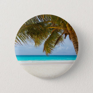 beach palm branches tree tropical island sand sea pinback button