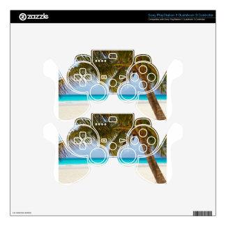 beach palm branches tree tropical island sand sea PS3 controller skin