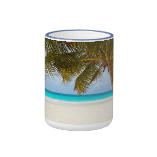 beach palm branches tree tropical island sand sea ringer mug