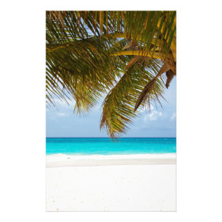 beach palm branches tree tropical island sand sea stationery