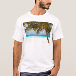 beach palm branches tree tropical island sand sea T-Shirt