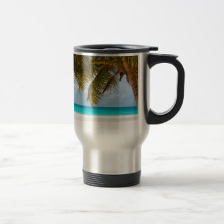 beach palm branches tree tropical island sand sea travel mug