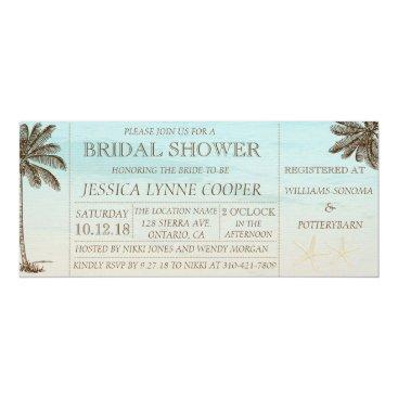 Beach Themed Beach Palm Bridal Shower Invitation