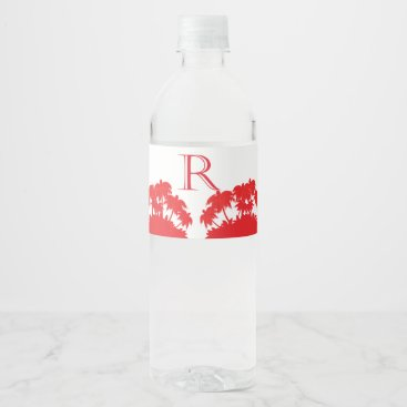Beach Themed beach palm coral water bottle label