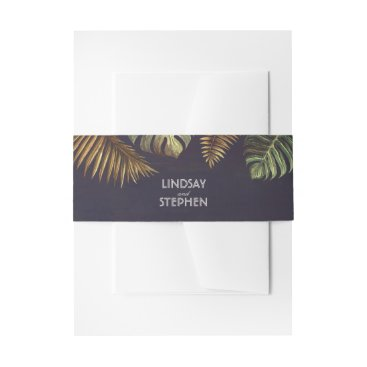Beach Palm Leaves Vintage Wedding Invitation Belly Band